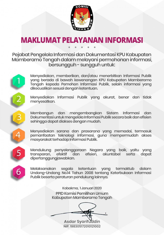 Maklumat PPID Kabupaten Mamberamo Tengah